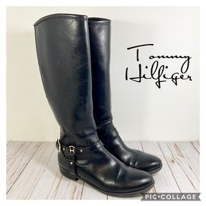 Tommy Hilfiger riding style boots black gold 9M